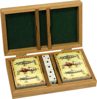 Lure Cards/Dice In Wood Box