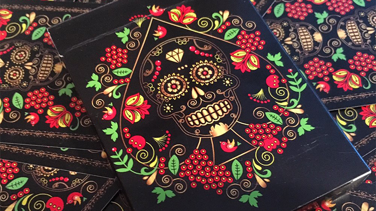 Calaveras de Azucar Black Edition Playing Cards Printed by USPCC