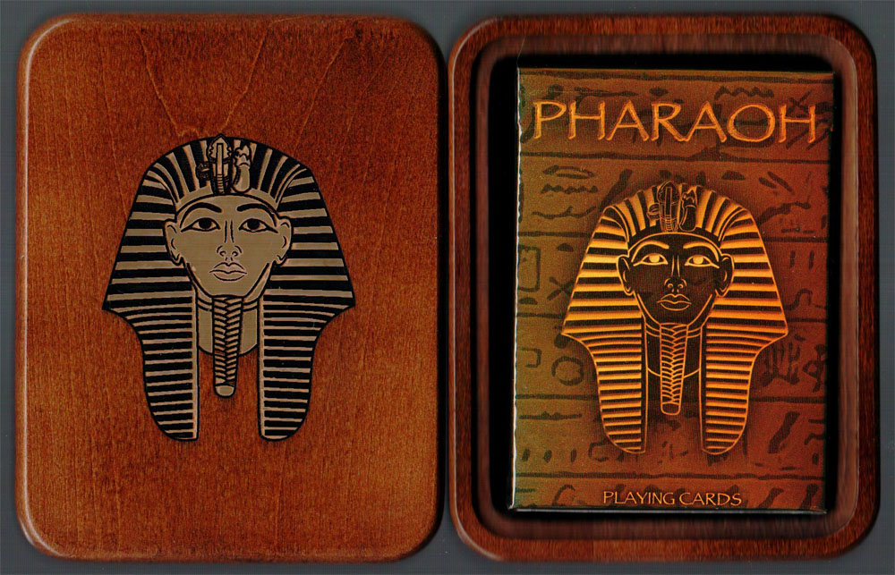 Limited Edition Walnut Pharaoh (Gold Foil Engraved) Playing Card Box & 1 Limited Edition Foil Pharaoh Deck