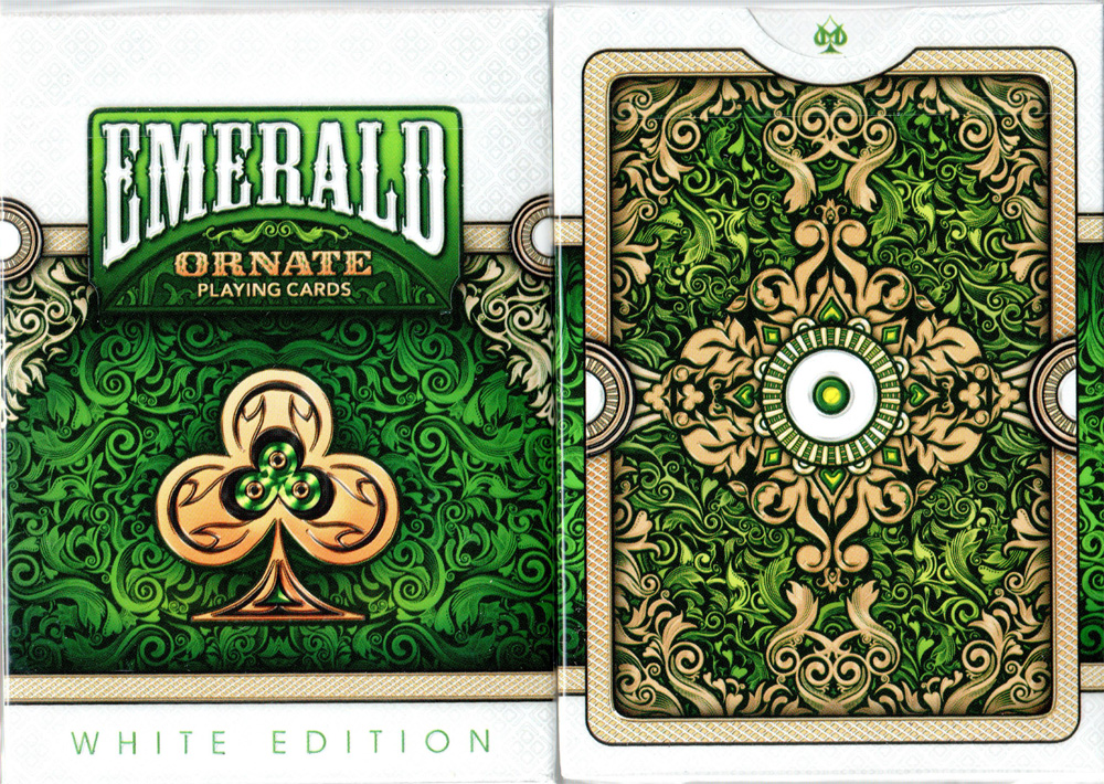 ORNATE White Edition Playing Cards (Emerald) by HOPC
