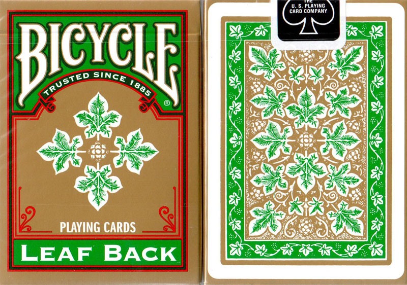 Bicycle Leaf Back Green Playing Cards Gold Edition