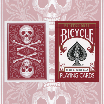 Skull and Bones Deck (Red)Cambric finish  by Conjuring Arts Research Center